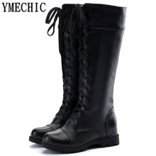YMECHIC Ladies Boots Female Black White Cross Tied Lace Up Long Knee High Knight Motorcycle Boots Plus Size Shoes Woman Autumn(China)