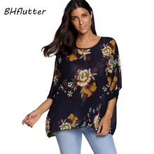 BHflutter Blouse Shirt Women Foral Print Casual Summer Blouses New Style 2018 Female Short Sleeve Chiffon Tops Plus Size Blusas