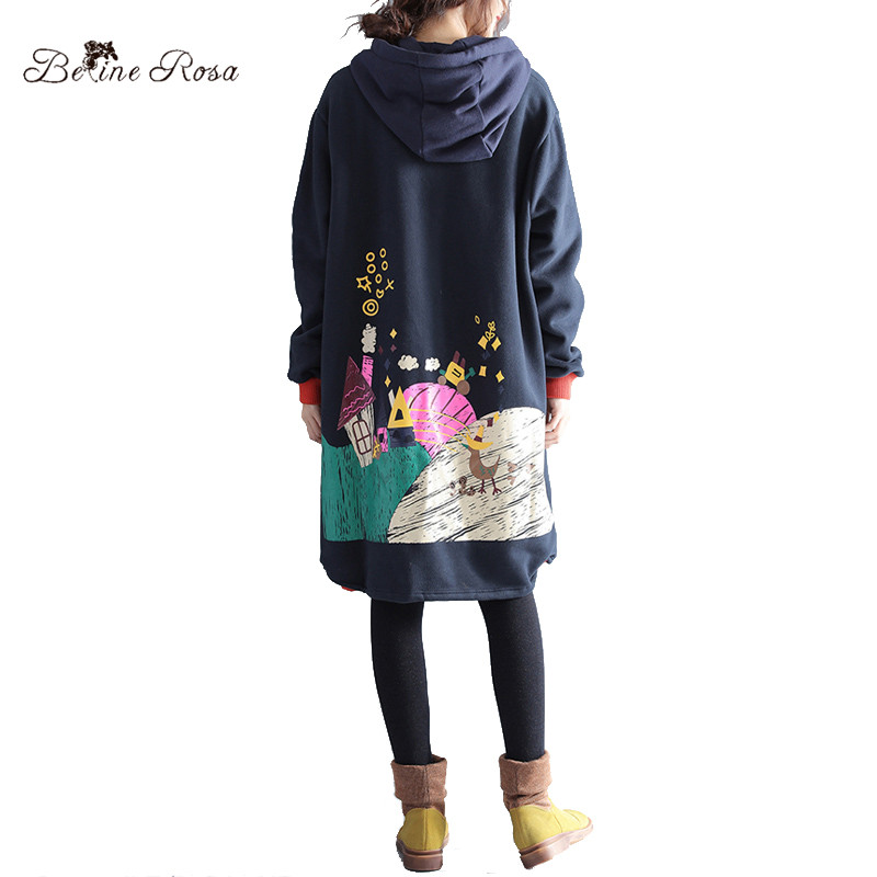 BelineRosa 2017 Women s Winter Coats Korean Fashion Character Printing Fleece Lining Plus Size Clothing without