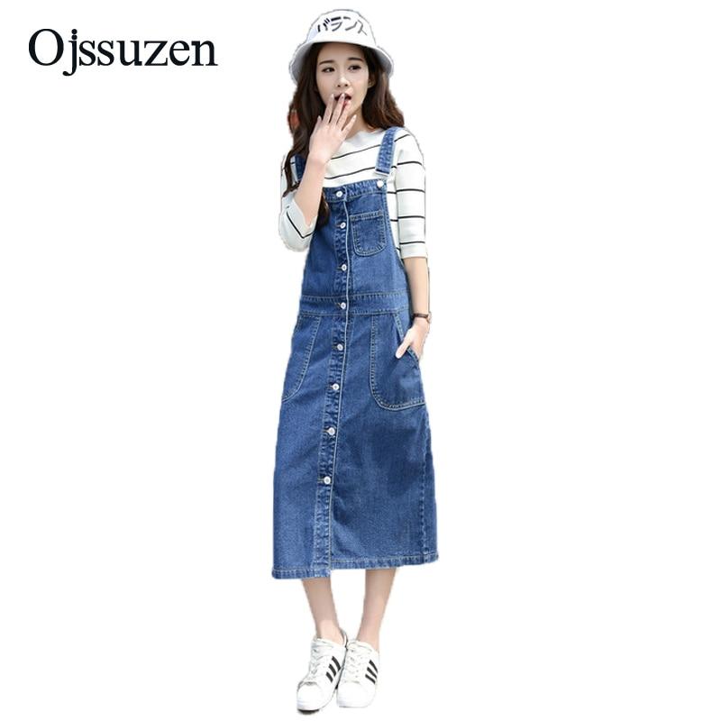 US $26.22 22% OFF|Salopette Femme En Jean Women Summer Overalls Dress Jeans  Single Breasted Long Denim Sundress Loose Plus Size Women\'s Overalls-in ...