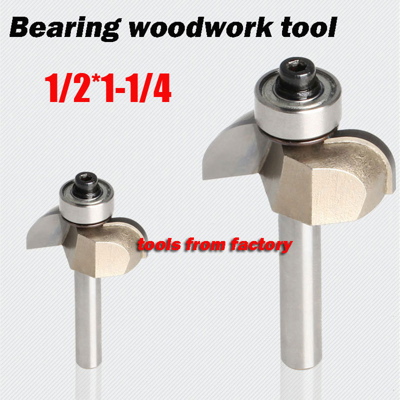 1pc Wooden Router Bits 1/2*1-1/4 Woodworking Carving Cutter CNC Engraving Cutting Tools Bearing Woodwork Tool 1pc v type v 1 2 1 1 4 3d woodworking cutter cnc router bits cutting for wood tools