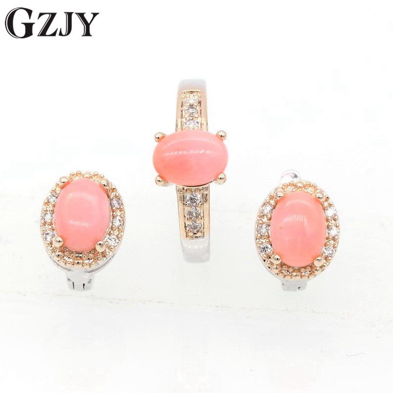 GZJY Fashion Natural Oval Pink Coral AAA Cubic Zircon Double Gold Color Earrings Ring Set For Women Wedding Party Jewelry J09-1