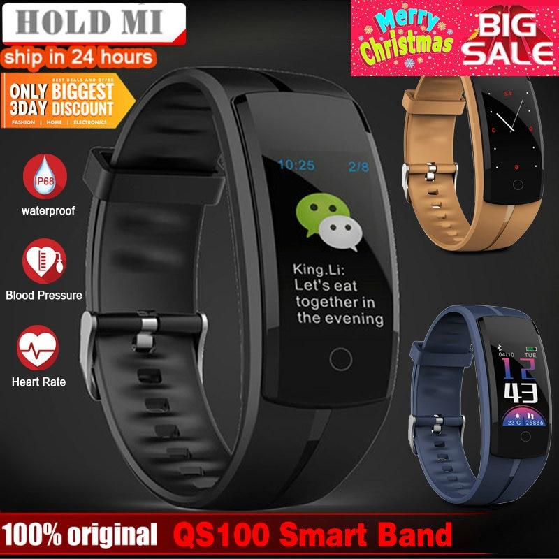 Espera Mi QS100 pulsera inteligente reloj inteligente presión arterial/Monitor de ritmo cardíaco rastreador de fitness pulsera Android IOS pulsera inteligente