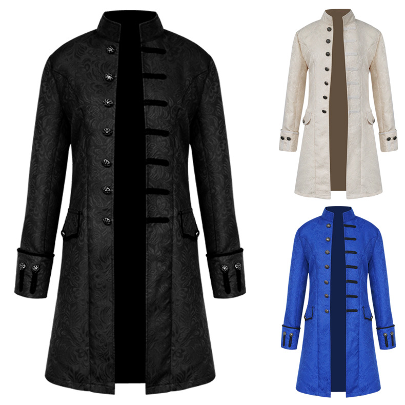 Man Medieval Gothic Costume Long Steampunk  Style Jacket Dress Daily Coat Man Outfit Halloween Cosplay Carnival Disguisment