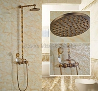 Antique Brass Porcelain Base Wall Mounted Bathroom Rain Shower Faucet Set With Ceramic Hand Shower 8