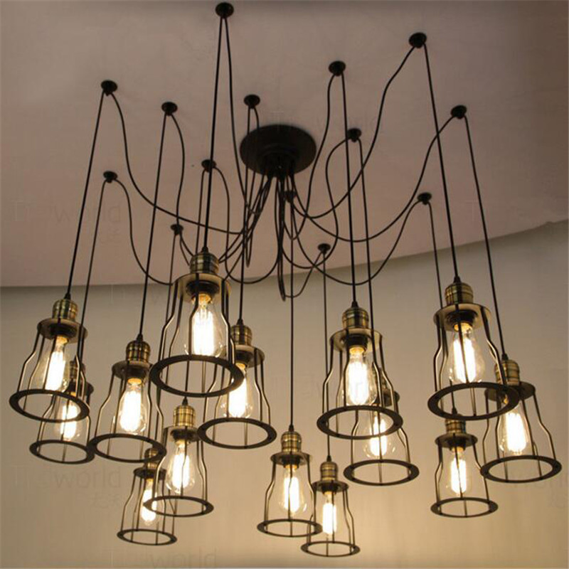цены  E27 American Loft Vintage Pendant Light Personality Wrought Iron Lights Edison Nordic Lamp Industrial Lamp Lighting 1M Wire