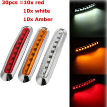 30pcs Led Truck Trailer Clearance Side Marker Light Yellow White Red 10-30V Brake Tail Lamp Lorry Pickups Turn Signal Lights
