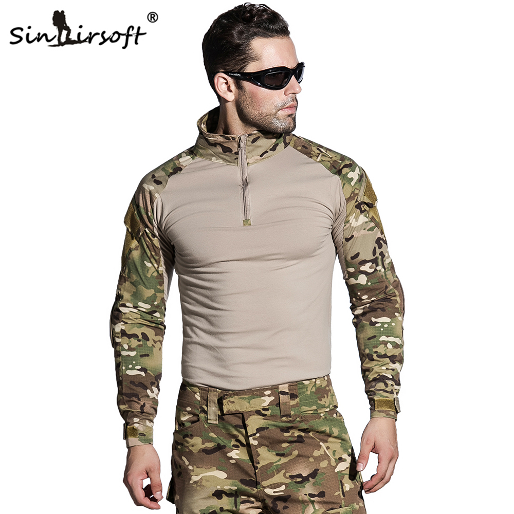 SINAIRSOFT Camouflage Military Tactical Uniform US Army Combat Shirt Only Cargo Multicam Airsoft Paintball With Elbow Pads camouflage tactical military clothing paintball army cargo pants combat trousers multicam militar tactical shirt with knee pads