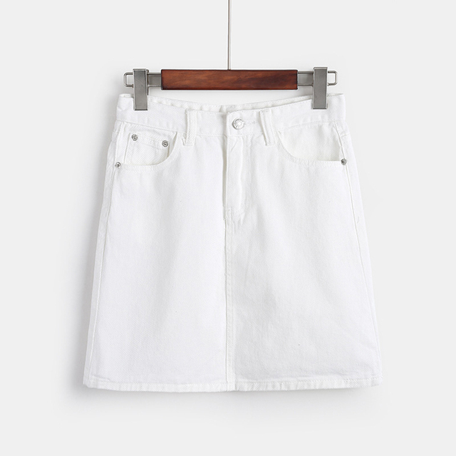 d74f17459f83 € 10.22 29% de DESCUENTO Aliexpress.com: Comprar 2018 verano Jeans falda  blanca mujer alta cintura Jupe bordes irregulares faldas de mezclilla mujer  ...