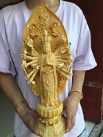 43cm Large TOP GOOD Wood carving ART HOME Talisman Bless safe GOOD LUCK Thousands Hands Guanyin buddha HAND wood carving statue