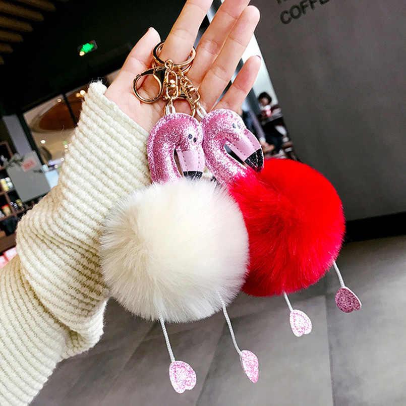 Flamingo rosa Pom Pom Corrente Chave Chaveiro De Pelúcia Fofo Falso Bola de Pêlo de Coelho para As Mulheres Bag Pingente de Chave Acessórios Anel SP0949