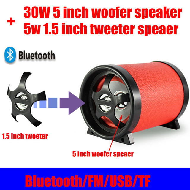 35 W De Alta Potência Do Bluetooth 4.0 Speaker Woofer de 5 Polegada 1.5 Polegada Tweeter DC12V/AC110 ~ 240 V USB TF rádio FM Com Controle Remoto Para Home PC carro