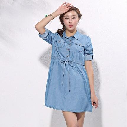Online Shop Denim casual long sleeve maternity dress autumn ...