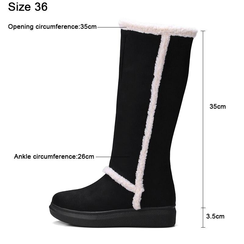 34 Hiver Chaud Kcenid Épais 43 Bout Taille mollet Froid forme Bottes Botas Plate Confortable Rond Plus Plat Chaussures Femmes gris Noir Neige Mi XwXqUrEp