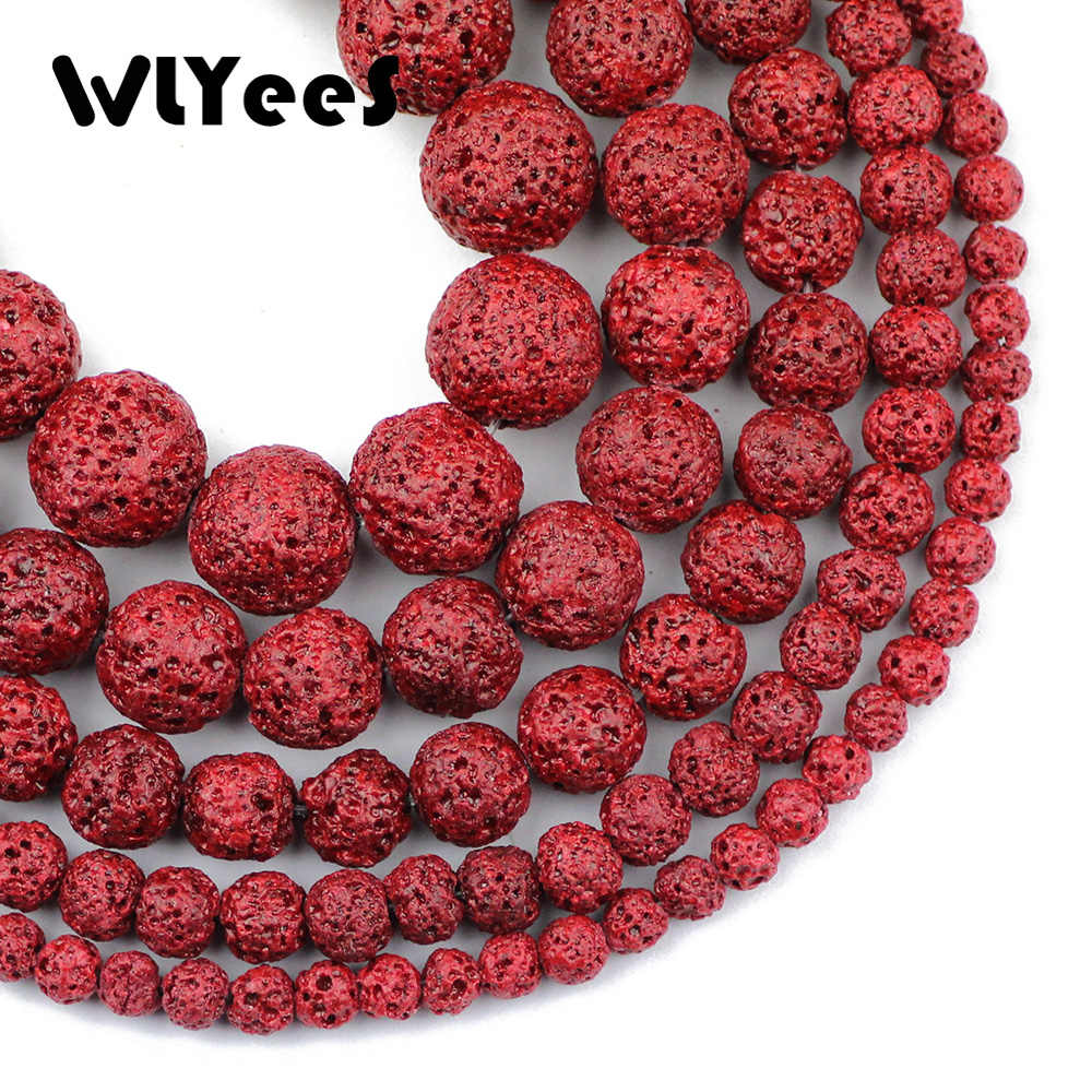 WLYeeS 1strand/lot Red Rock Lava Beads Natural Stone 4 6 8 10 12mm Round Loose Spacer Beads for DIY Jewelry Bracelet Making 15""