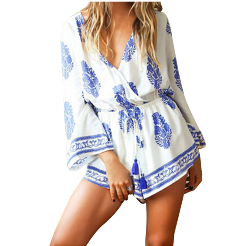 New Summer Women Playsuit Loose Sleeve t-shorts Summer Beach Floral Romper Jumpsuit Shorts Set ...