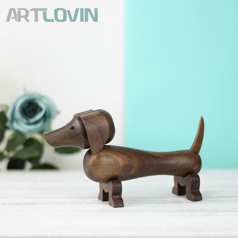 New Arrival Nordic Black Walnut Dachshund Wood Miniature Sausage Dog Figurines Home Interior Decor Ornaments Toys