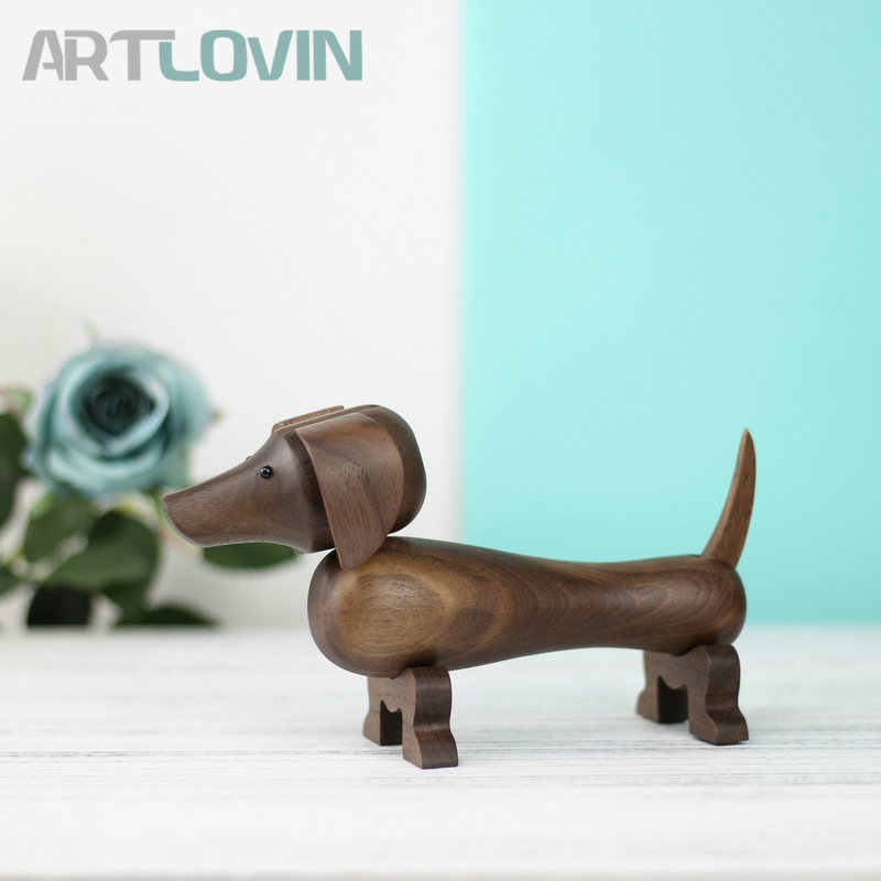 """Dachshund Dog Shaped Wood Carved Statue Figurine with Stand NEW 16/"""" long"""