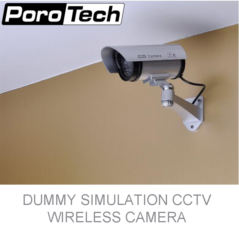 P2100 Nice Dummy Fake Surveillance Security CCTV Dome Camera Indoor Outdoor with Red LED Light primary battery powered Look Real myeye dummy camera dome fake camera with led lights waterproof indoor outdoor cctv dome dummy camera video surveillance