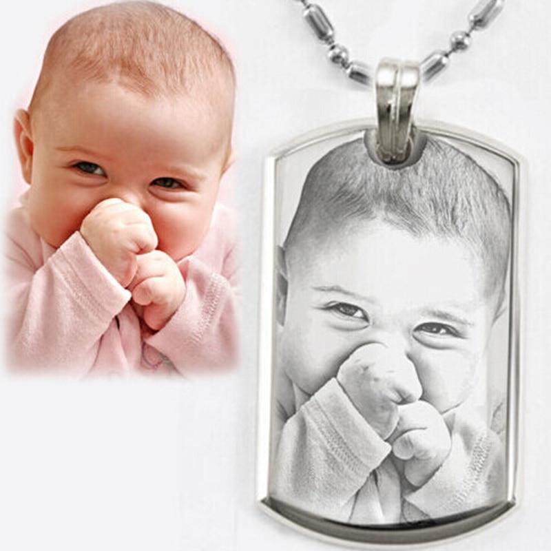 Персонализирани снимки Изображение Висулка Колие от неръждаема стомана Гравирайте вашите снимки ID Код за колие Колие за жени мъже