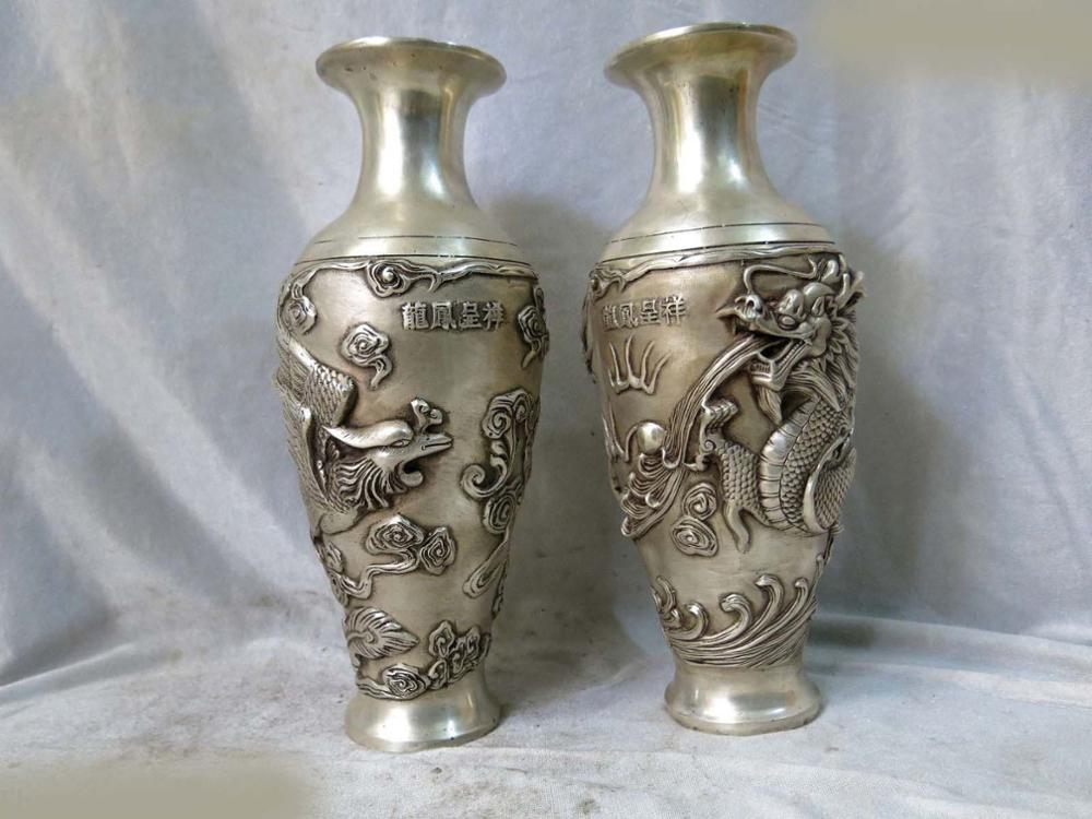 Fine Silver sculpture China carved kucky phoenix and dragon Vases pair Statue (D0426)Fine Silver sculpture China carved kucky phoenix and dragon Vases pair Statue (D0426)