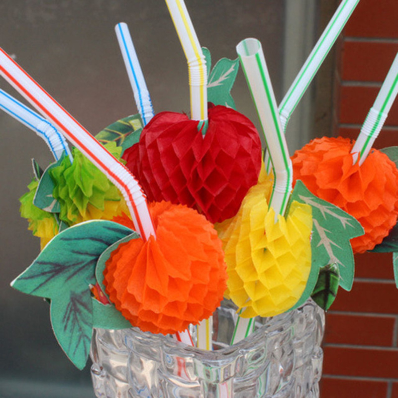50PCS/Lot 3D Fruit Cocktail Paper Straws Umbrella Drinking Straws Party Decoration HHY1