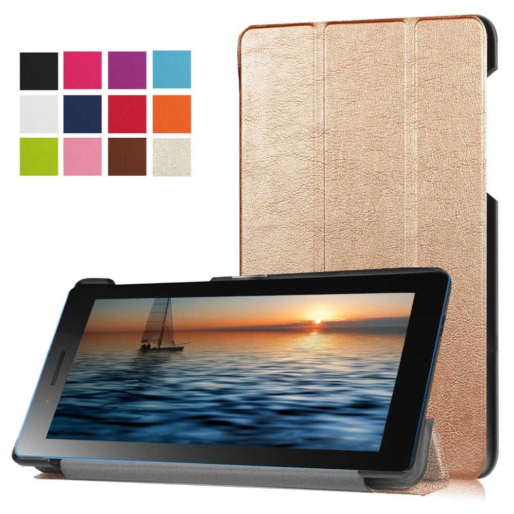 Ultra Slim Custer Fold Folio Stand PU Leather Magnetic Cover Protective Skin Case For Lenovo Tab3 7 TB3-730M TB3-730F 7'' Tablet dolmobile ultra slim tri fold pu leather case stand cover for lenovo tab 3 730f 730m 730x tb3 730f tb3 730m screen protector