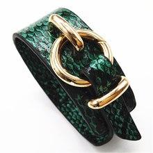 Зеленая змея Геометрическая девушка мода Леопардовый принт широкий кожаный браслет для женщин Винтаж браслет женские свадебные украшения