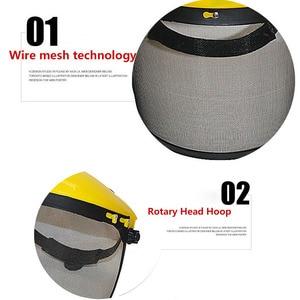 Image 5 - Металлическая Сетчатая Маска на все лицо, защитный козырек, защитный шлем, шляпа для бензопилы, щетки, резак, лесная газонокосилка, защитная маска для рабочей силы