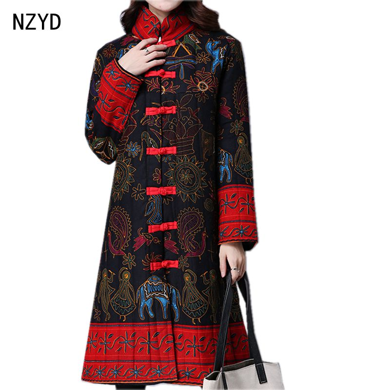 Autumn/Winter Women Jacket 2017 New Fashion Stand collar single-breasted Long sleeve Coat Print Loose Big yards Coat LADIES162