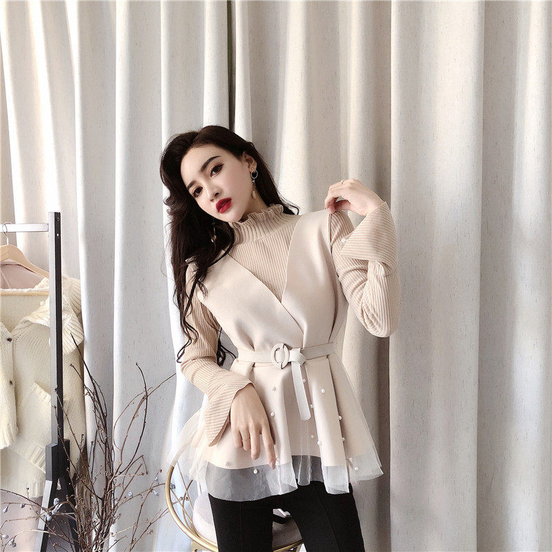 2 Pieces Fashion New Korean Fashion Flare Sleeves Sweaters + Ruffled Beaded Vest Elegant OL Two-piece Sets Women Sets Clothes