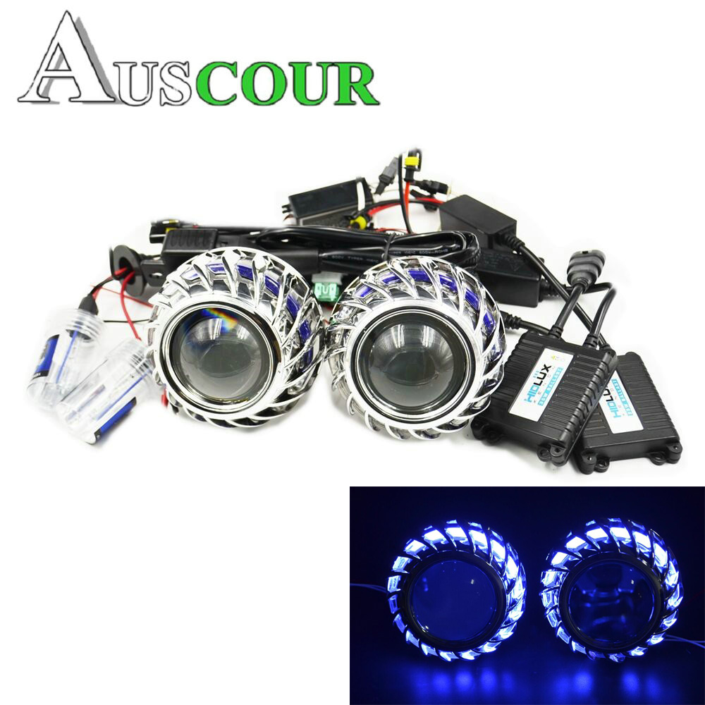 2.5inch mini Bi xenon hid Projector lens led day running white angel eyes 6000k H1 H4 H7 retrofit car assembly kit DRL Modify 2 5inch bixenon projector lens with drl day running angel eyes angel eyes hid xenon kit h1 h4 h7 hid projector lens headlight