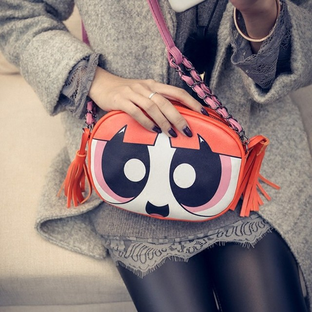 c59922e67b 2016 new cartoon printing small round bag powerpuff girl tassel messenger  bag women shoulder bags