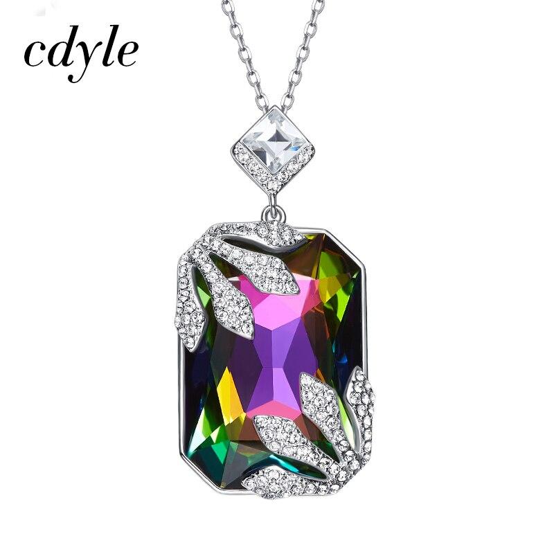 Cdyle crystaux de swarovski Bijoux Chic couleur mélangée S925 Sterling Argent Colliers pendentif pour femmes Mode Bijoux Lady Cadeau