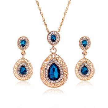 Luxury  Gold rhinestone crystal Jewelry Set 1