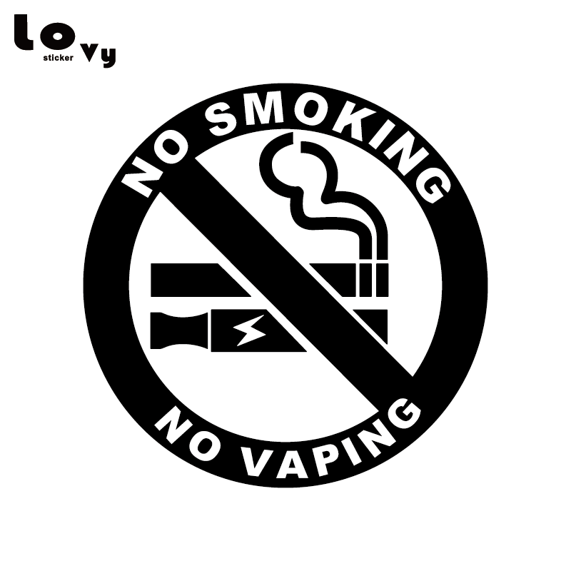 6 CLEAR NO SMOKING NO VAPING STICKERS VIEW BOTH SIDES GLASS SIGN STICKER BLACK
