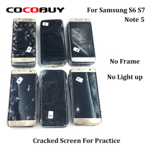 Novecel 5PCS Cracked Broken Defective LCD Screen without Frame for Practice For Samsung Note 5 S7 S6 No Light Up
