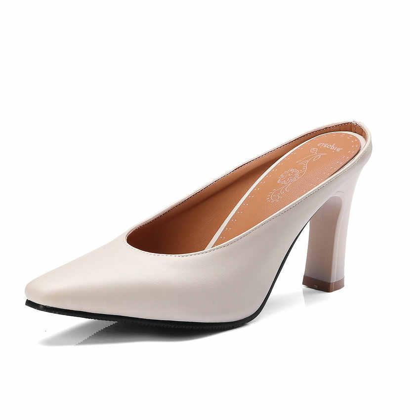 Eokkar 2019 квадратный носок туфли на высоком каблуке женские туфли с открытой пяткой; Ботинки из PU искусственной кожи (ПУ) без застежки, туфли-лодочки на шпильке, зеленого цвета; Обувь на среднем каблуке для леди размера плюс; Большие размеры 34-45