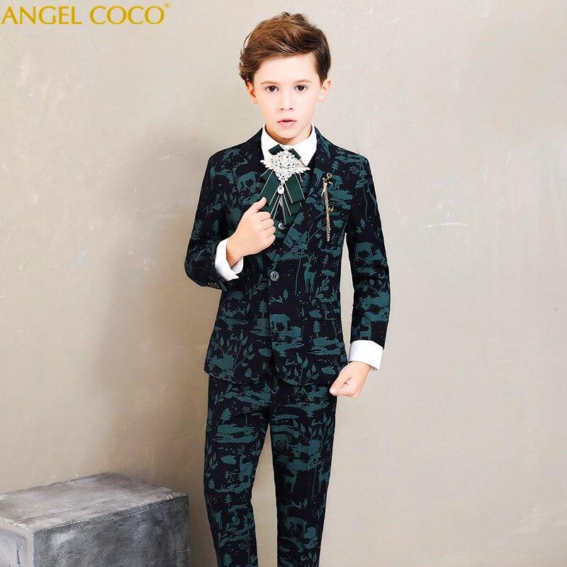 С принтом лося узор мальчиков Костюмы Блейзер Подиум детская фортепиано костюмы состоялся одежда толстые зимние костюмы для мальчиков на с