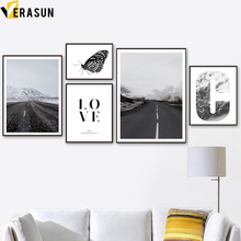 Butterfly Road Mountain LOVE Landscape Wall Art Canvas Painting Nordic Posters And Prints  Pictures For Living Room Decor