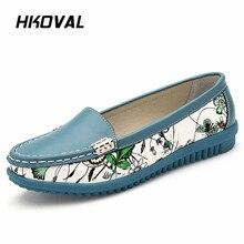 купить HKOVAL Women Shoes Sneaker Genuine Leather Woman Shoes Flats Loafers Slip On Women's Flat Flower Shoes Moccasins недорого