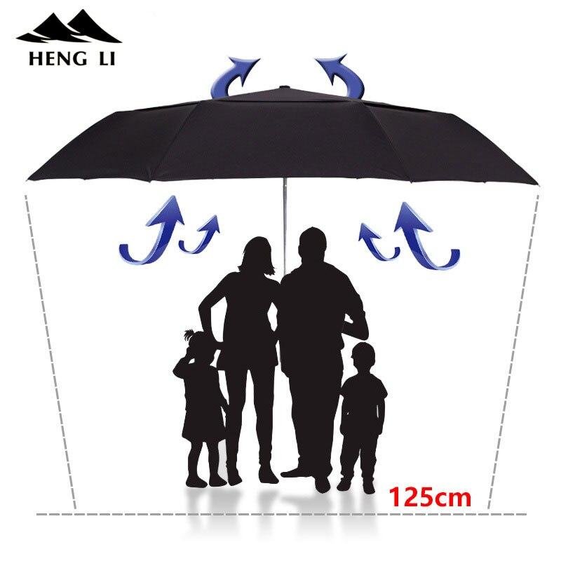 TOPX gran paraguas de los hombres a prueba de viento de doble capa paraguas plegable de la lluvia de las mujeres automática Golf UmbrellasFor hombre Corporation sombrilla