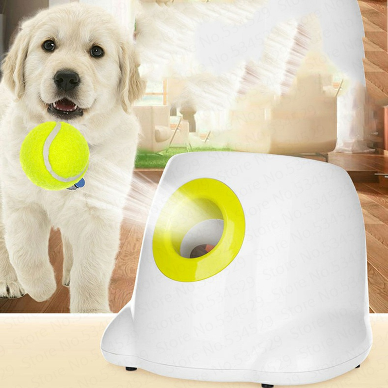 Jouets pour animaux de compagnie dispositif de lancer interactif lanceur de balle de Tennis automatique chien jouets machine de lancer de balle avec 3 balles pièces