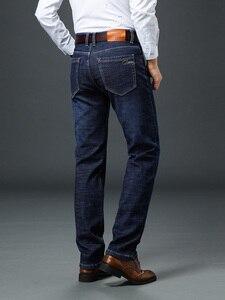 Image 3 - Jantour Brand Jeans hombres de alta elasticidad Negro Azul Slim Straight Denim Business Pants hombre, algodón y Spandex de talla grande 40 42 44