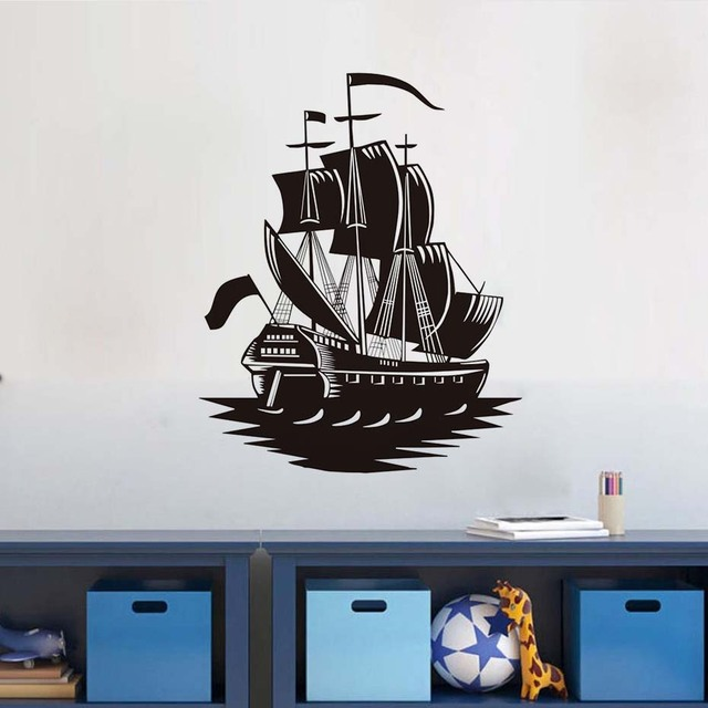 Aliexpress.com : Buy Pirate Ship Silhouette Wall Sticker Home ...