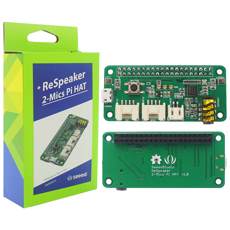 Raspberry Pi 3 ReSpeaker 2-Mics Pi HAT Pi 3B Intelligent Voice Module Dual Microphone Extension Board Compatible With Pi Zero W