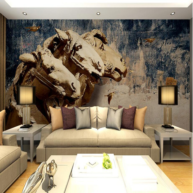 Custom 3D Wall Murals Photo Wallpaper Decorative Three-dimensional Horse Painting Wall Stickers Wallpaper Home Decor Wall Murals 2503art large murals3d can be custom made furniture decorative wallpaper house ornamentation decor wall stickers chinese style