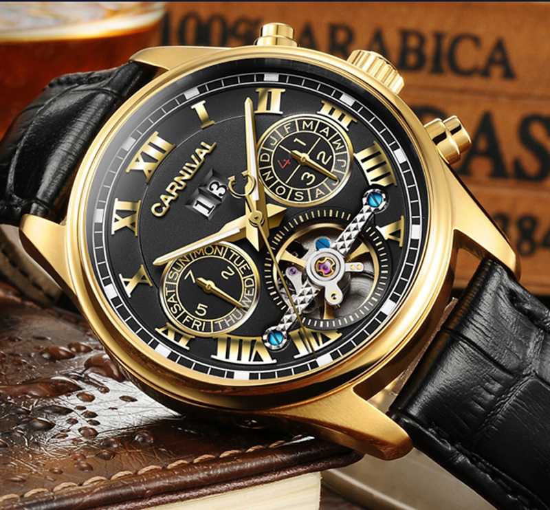 цена на Luxury Gilded Watch Men Automatic Self-Wind Sapphire Glass Tourbillon Black Dial Brown Leather Band Watches reloj relogio 7728