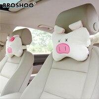 BROSHOO 2 Styles Car Headrest Cartoon Auto Neck Pillow Lovely Pig Bone Pillow Car Headrest Auto