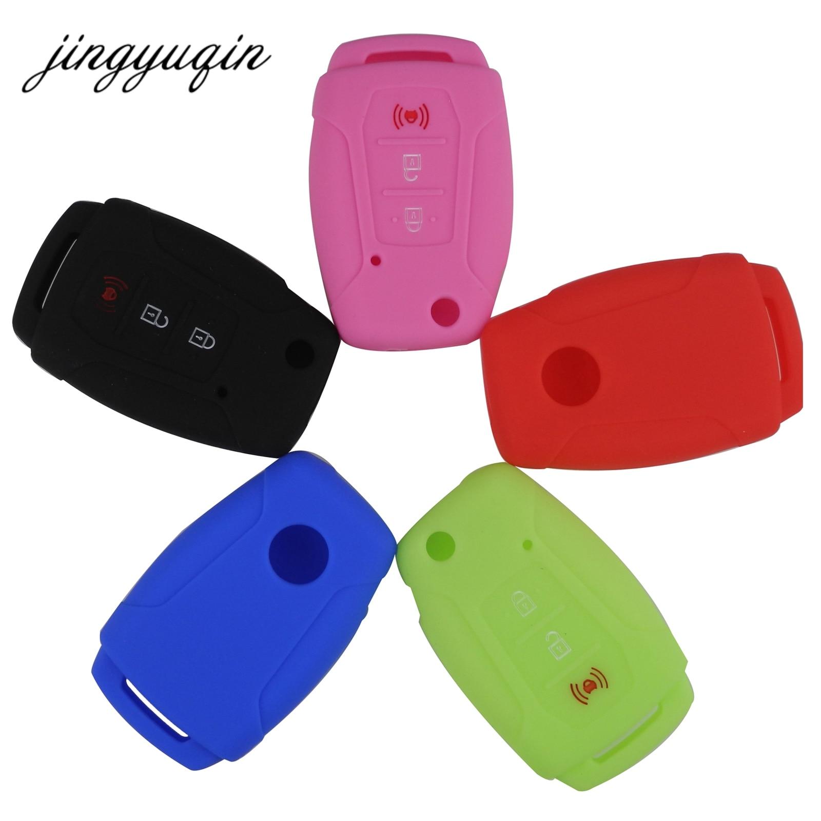 jingyuqin Silicone Key FOB Holder Protector For Ssangyong Rexton Korando C Tivoli Flip Folding Remote Cover Silica Gel Case(China)